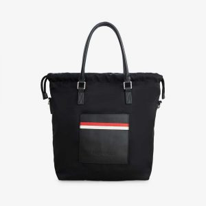 Striped nylon tote bag