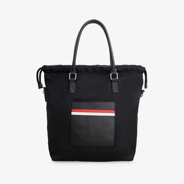 Striped nylon tote bag