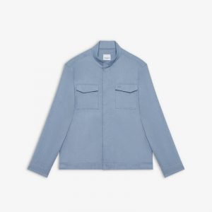 BLUE LINEN MIX STRETCH LIGHT JACKET