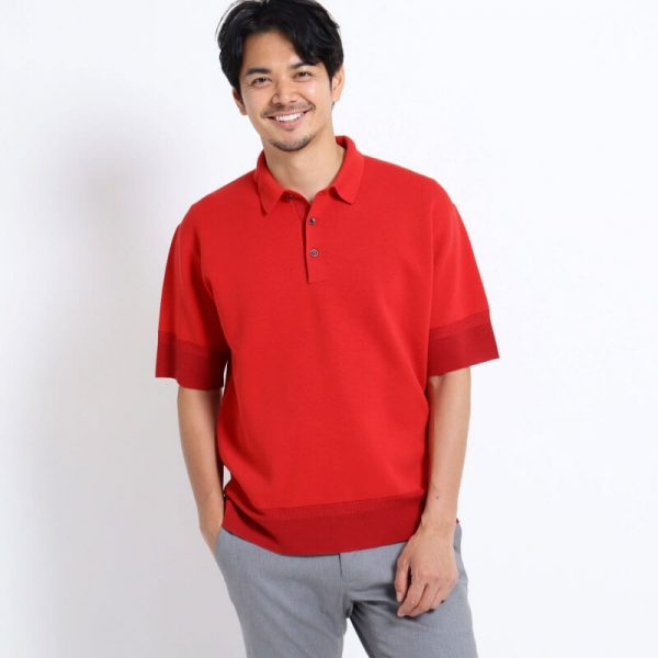 RED KNIT POLO SHIRT