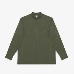 OLIVE STRETCH STAND COLLAR OVERSIZE SHIRT