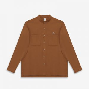 BROWN STRETCH STAND COLLAR OVERSIZE SHIRT