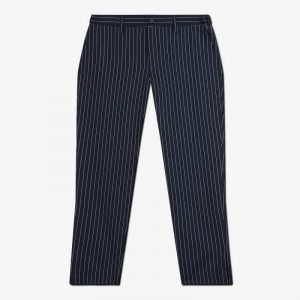 NAVY SOLOTEX STRIPE PANTS WITH SLITS